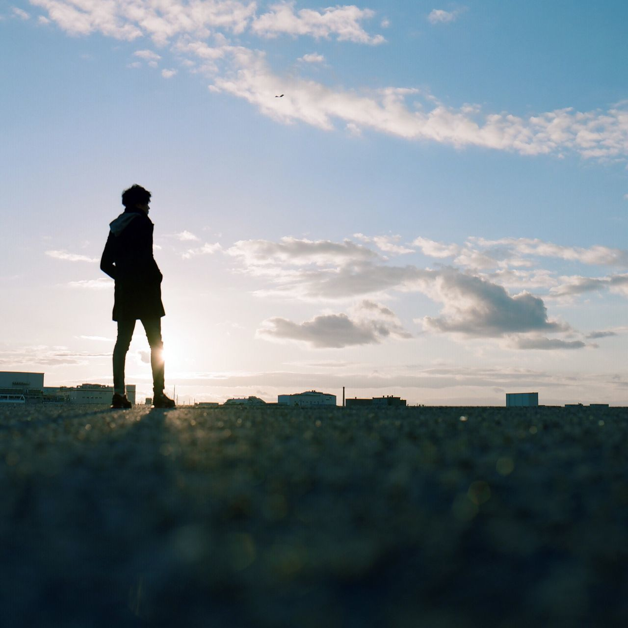 real people, one person, sky, full length, standing, walking, lifestyles, cloud - sky, outdoors, silhouette, leisure activity, sunset, nature, day, men, beauty in nature, people