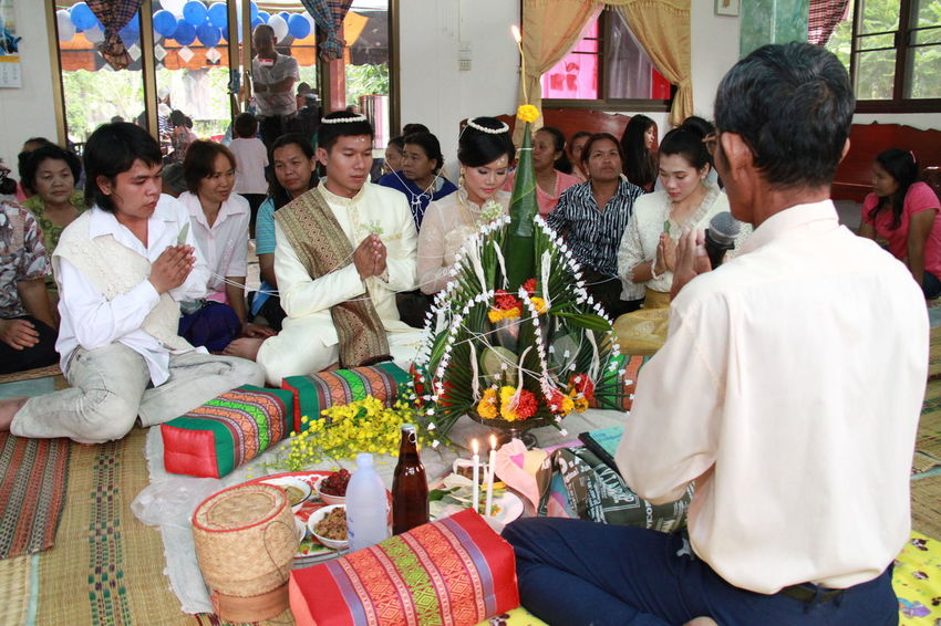 Adult Adults Only Archival Bridegroom Celebration Day Full Length Large Group Of People Marry Mid Adult Only Men People Togetherness Wedding Ceremony-thai Style