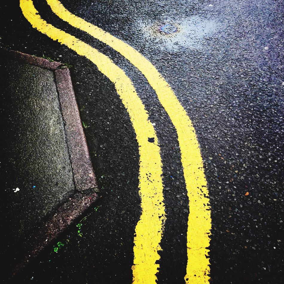 Yellow Road Marking Asphalt High Angle View Road Transportation Outdoors Yellow Line Day Communication No People Close-up Roadways Arrow