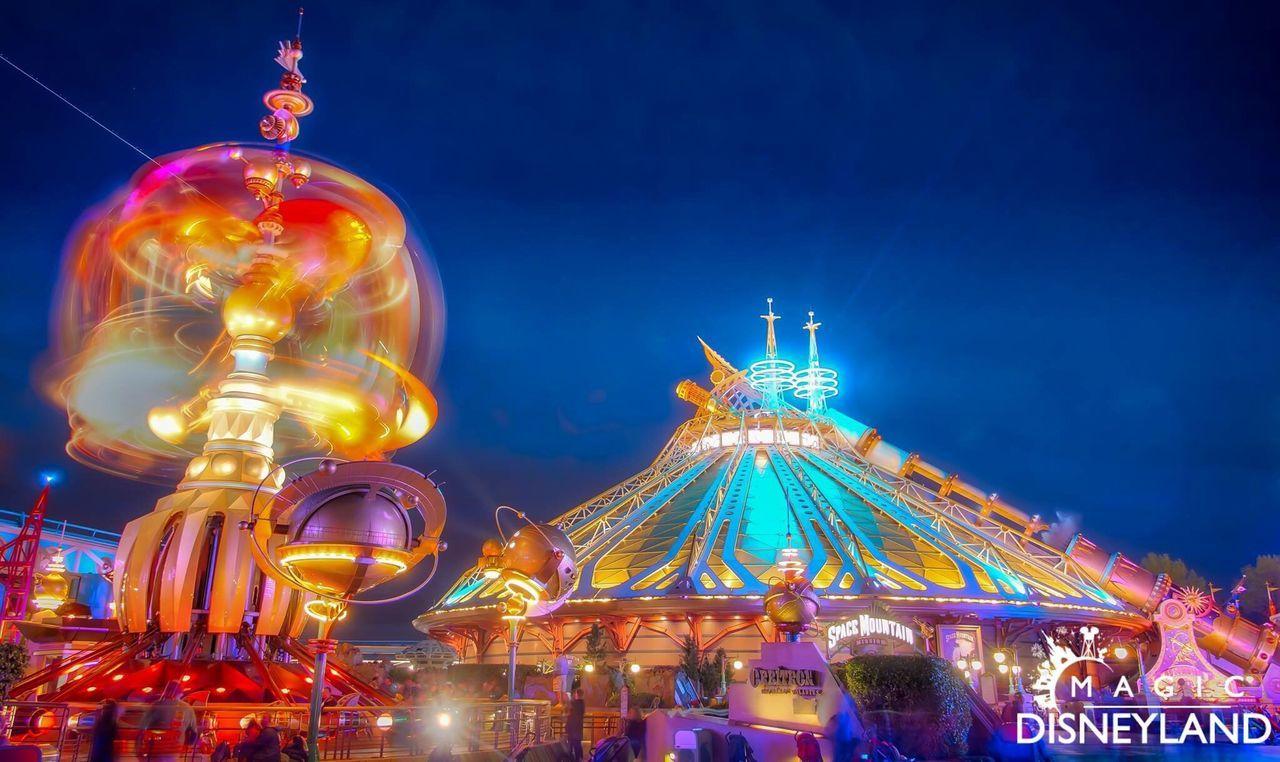 Travel Destinations Illuminated Night Disneyland Resort Paris Disneyland Paris Disneylandparis Disneyland Amusement Park Disney Spacemountain
