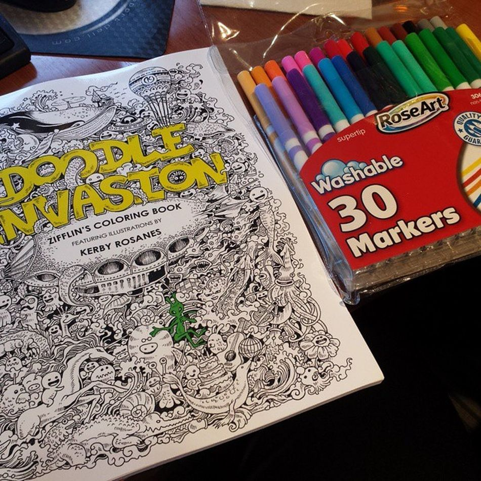 Got this for a little stress release....glad I brought it to work today. Spinningtheplates RainyDay Trafficsucks Coloring adultcoloringbooks doodle