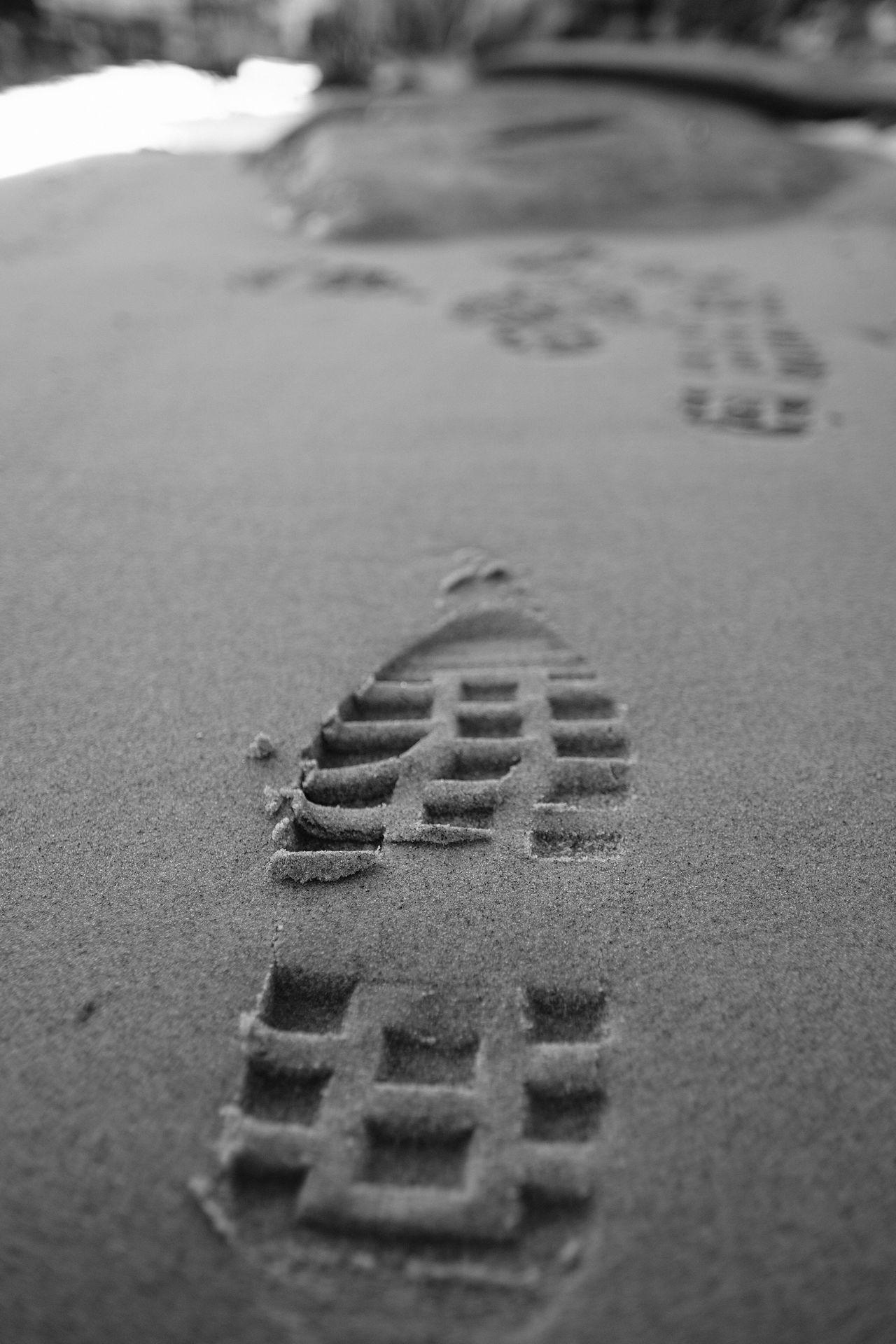 Try walking in my shoes Beach Sand Shoeprints Nature Outdoors Fujifilm_xseries Fujifilm XT-2 Blackandwhite Eyeem Monochrome Eyeem Sweden FUJIFILM X-T2 XF16mmF1.4 Monochrome AcroS EyeEm Best Shots - Black + White Kungshamn Sweden Monochrome Sverige Taking Photos Fujilove Sweden X-t2 Svartvitt Close-up Day