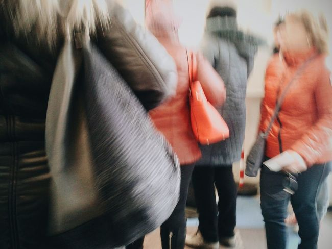 """""""Women with their bags"""". Bags Women People Waiting In Line (more or less, photo taken in Italy) Signore con la loro Borsetta Borsa Attesa Medical Cabinet Ufficio Pubblico Smartphone Photography Motion Blur Mobile Photography S3mini VSCO Eyeemfilter / Showcase : February"""