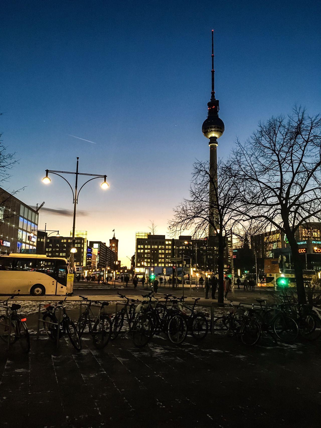 Alexanderplatz Berlin Night Night Lights Sunset City Cityscape Tower Vertical Blue Sky Sky Europe First Eyeem Photo