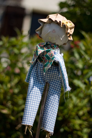 Art And Craft Blue Close Up Close-up Cute Detail Doll Europe France French Garden Gingham Hat Outdoors Scarecrow Travel