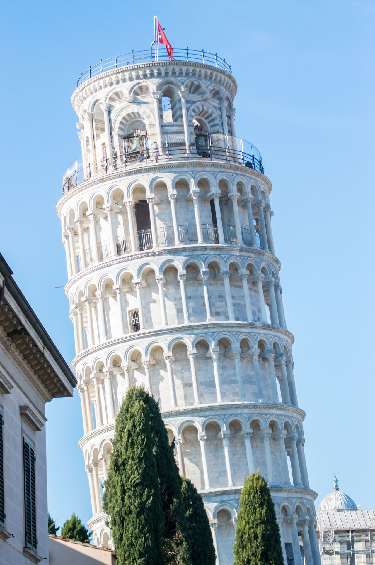 Architecture City Flag Galileo Low Angle View Marble No People Pisa Tower Tourism Travel Travel Destinations