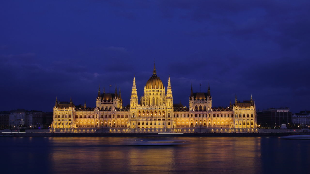 Hungarian Parliament Building Budapest Architecture Budapest Nightscape Duna Donau Danube Building Exterior Built Structure Capital Cities  City Cityscape Famous Place Hungarian Parliament Building International Landmark Night Orszaghaz River Sky Tourism Travel Travel Destinations Water Waterfront