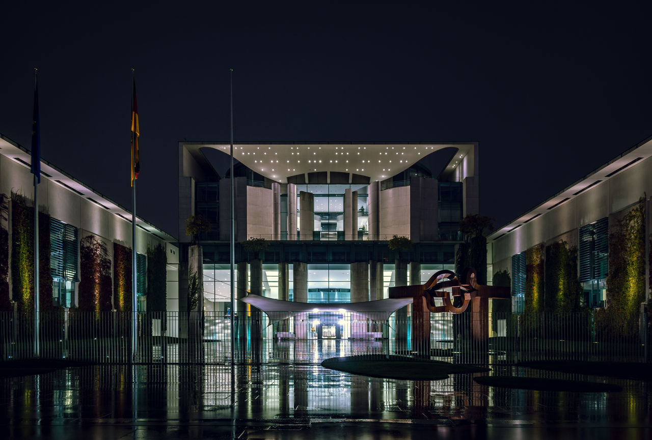 Kanzleramt (chancellery), Berlin in a rainy night Architectural Feature Architecture Berlin Berlin Photography Chancellery Electric Light Entrance Government Government Building Illuminated Kanzleramt Kanzleramt Berlin Modern Night No People Rain Reflection