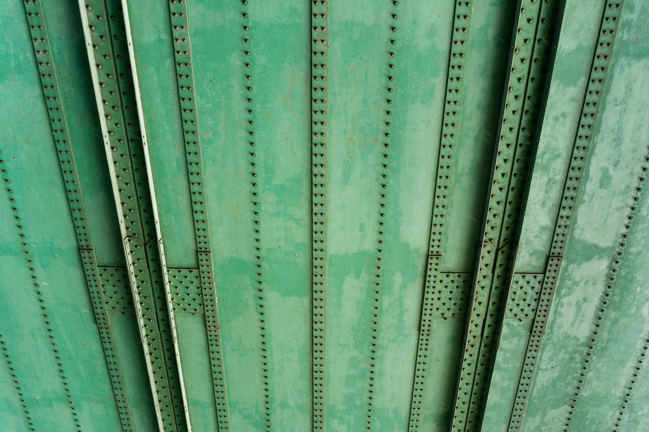 Ceiling of a bridge Architecture Background Bolts Bridge Bridge - Man Made Structure Bridge View Bridges Ceiling Close-up Construction Full Frame Green Industry Iron Lines No People Outdoor Perspectives Steel Steel Bolts Steel Structure