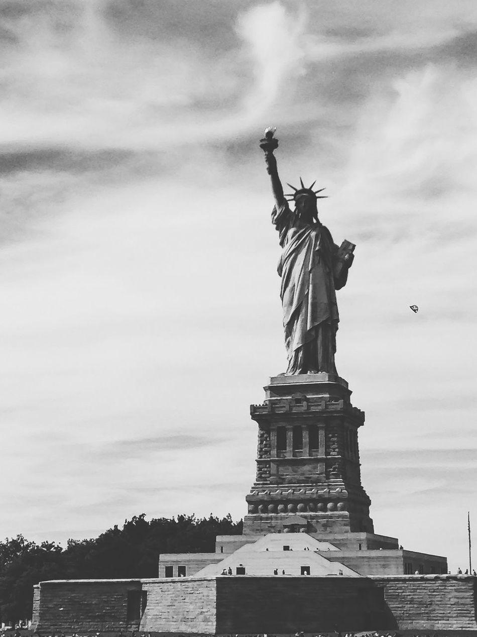 Beautiful stock photos of statue of liberty, Art And Craft, Cloud - Sky, Cloudy, Day