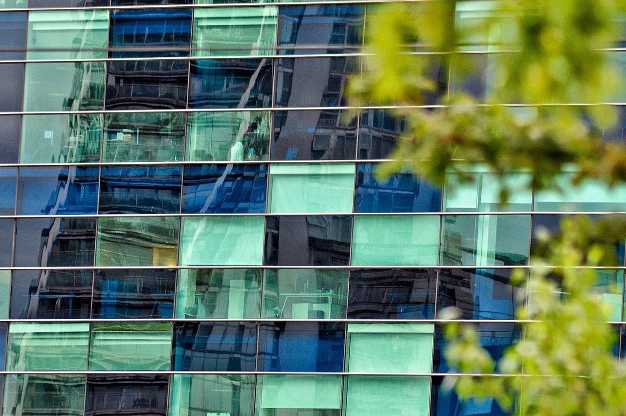 Full frame reflections. Adapted To The City Building Exterior Architecture Built Structure Day Outdoors Modern No People Architecture Modern Architecture EyeEm Best Shots Building Reflections Tree And Building Love EyeEm Full Frame Architectural Detail City Building Getty X EyeEm Reflected Glory Reflections EyeEm Masterclass City City Architecture EyeEm Gallery EyeEm