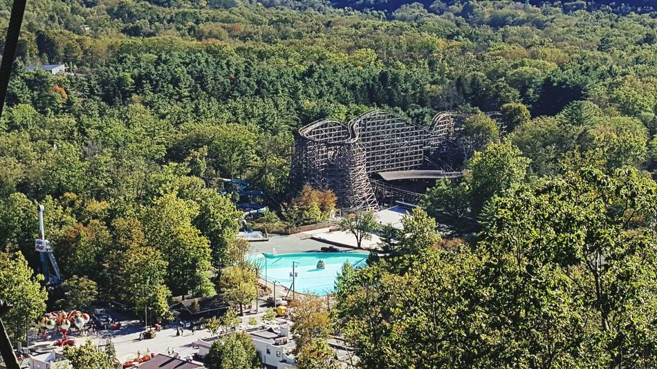 View of the Twister and swimming pool at Knobels Amusement Park Resort First Eyeem Photo Rollarcoaster Wooden Rollercoaster Summer Knoebels Pennsylvania Amusementpark Loving Life!