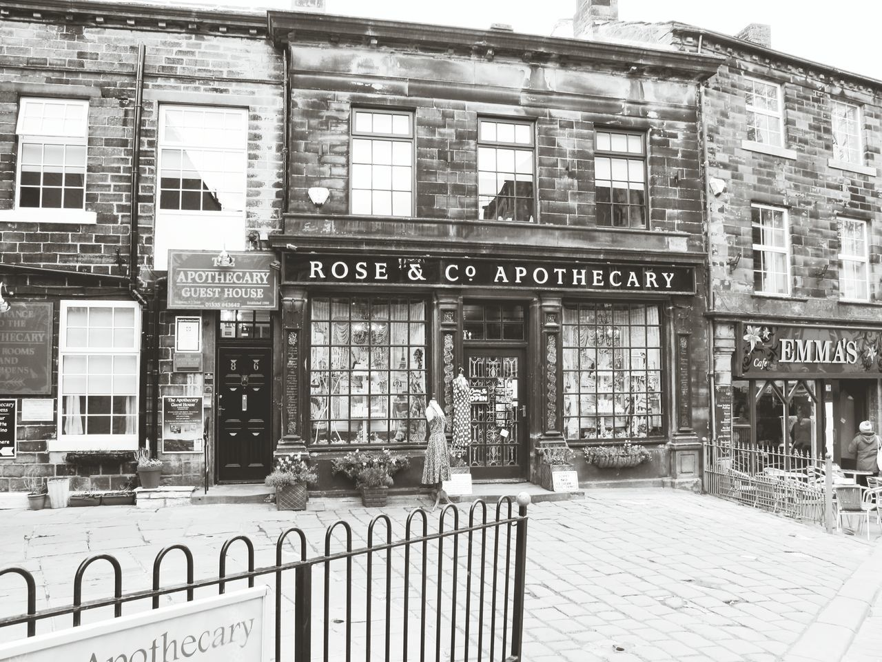Street Photography West Yorkshire Bronte Shop Shops Street Shopping Time Showcase April Landscape Day Out Old World Architecture Yorkshire Architecture Antique England Monochrome Black And White Black & White Black And White Architecture Quintessential English Scene Old England Tourist Attraction  Bronte Sisters Windows Vintage Signs