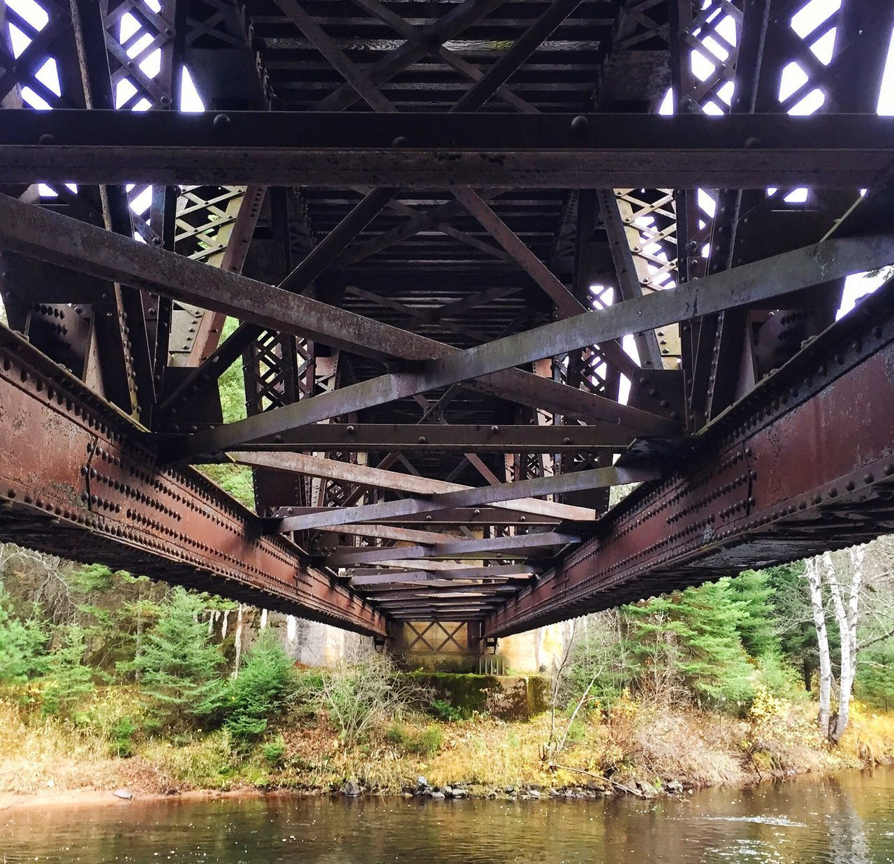 Under the railroad bridge Bridge - Man Made Structure Metal Railway Bridge Underneath Iphoneonly Taking Photos Railroad