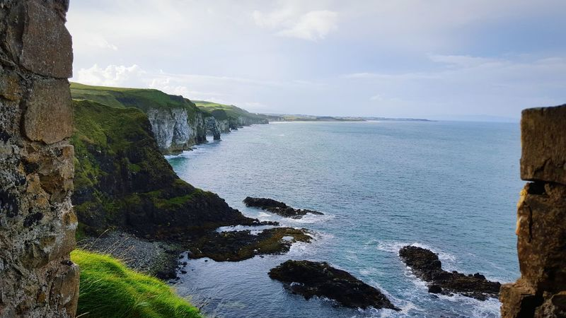 Nothern Ireland  Ireland Northcoast Dunluce Castle Sea