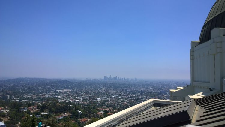 City Downtown Los Angeles Griffith Observatory Holliwood Hot Day Landscape Los Angeles, California Skyscrapers View