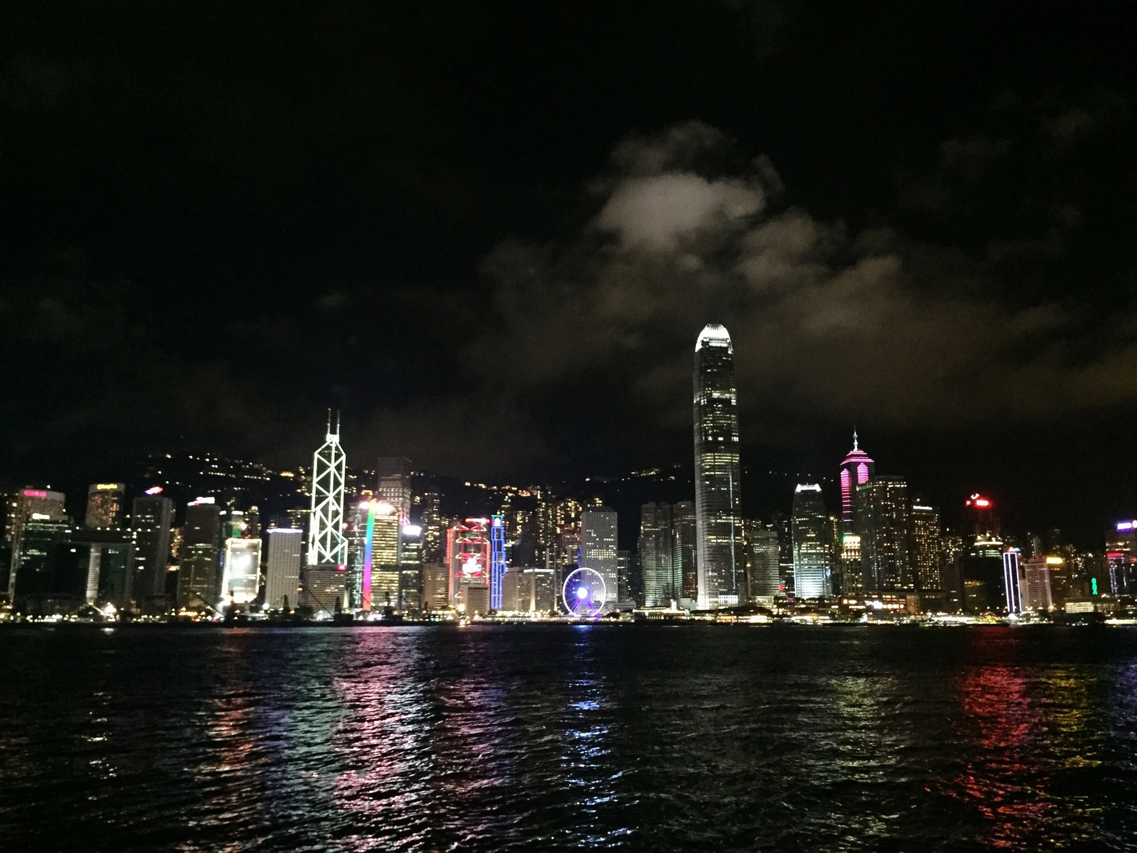 city, building exterior, skyscraper, illuminated, architecture, cityscape, water, waterfront, built structure, night, urban skyline, tall - high, sky, modern, sea, tower, office building, financial district, river, skyline