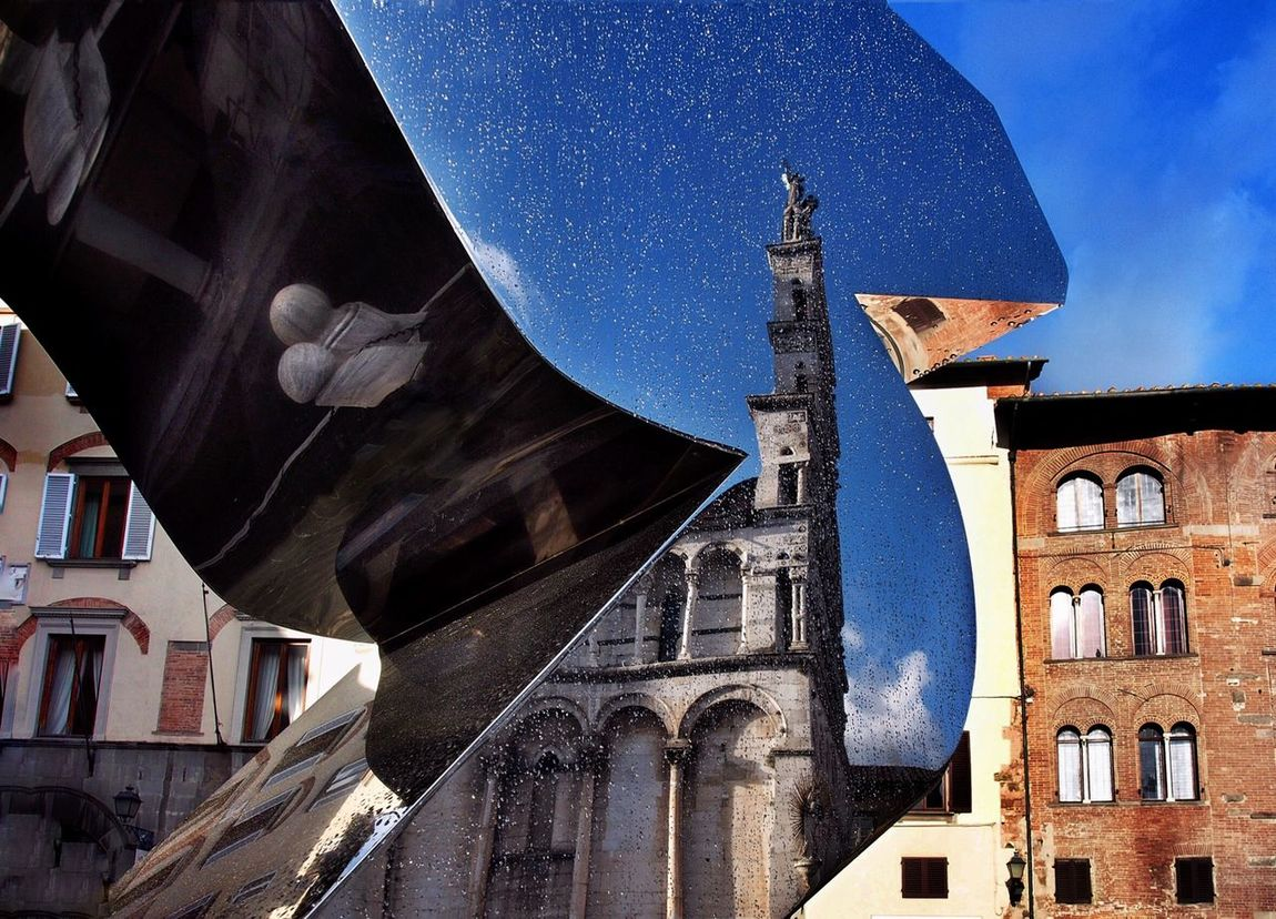 No Photoshop. Only a reflection from a sculpture in the city of Lucca. Italy. Architecture No People City Lucca Reflection Mirror Church Wry Awry Crooked Askew Skew Bandy Lucca Urban Modern Art Sculpture Strange Low Angle View Angle City Cityscape