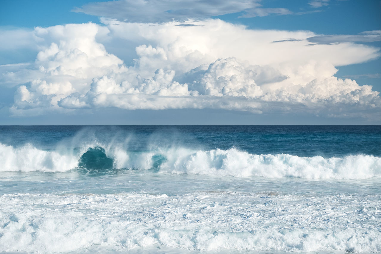 Massive cloud formation // Beach Beauty In Nature Cloud Cloud - Sky Cloud Formations Copy Space Day Horizon Over Water Majorca Mediterranean  Mediterranean Sea Nature No People Outdoors Remote Scenics Sea Sea And Sky Shore Sky Spraying Water Wave Wilderness