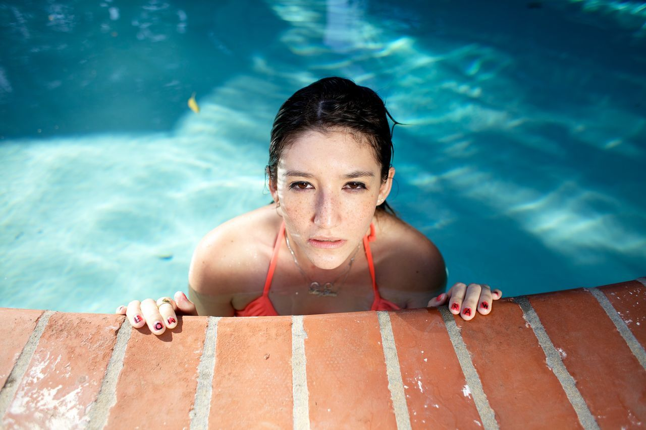 Beautiful stock photos of fitness, swimming pool, water, looking at camera, swimming