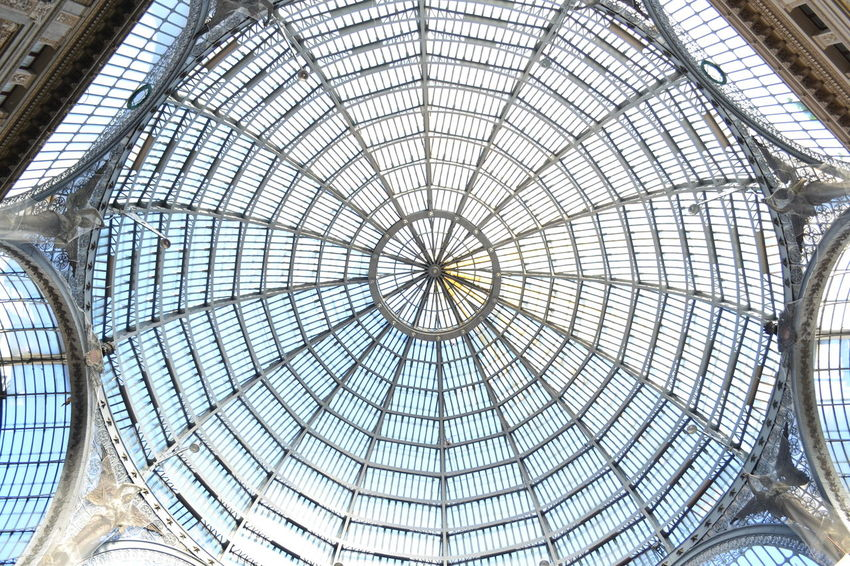 Architectural Feature Architecture Backgrounds Building Built Structure Ceiling Day Design Diminishing Perspective Directly Below Full Frame Galleria Vittorio Emanuele Geometric Shape Interior Landmark Landmarkbuildings Modern Napoli No People Pattern Repetition Skylight Soffitto Trasparenza Vista Dal Basso