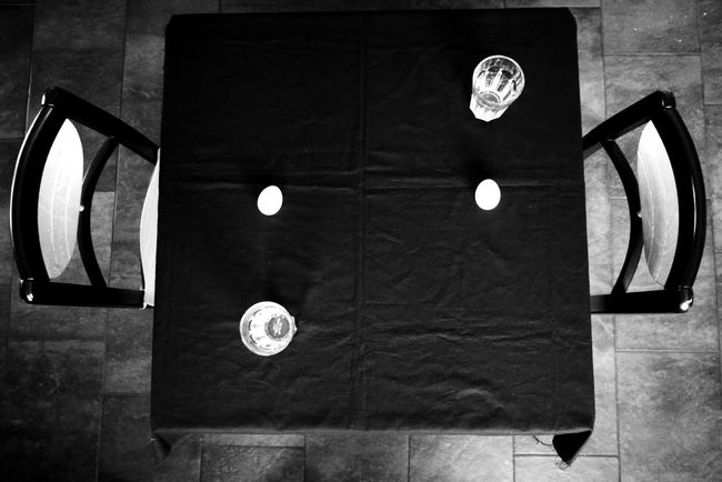 the perfect dinner for two Dramatic Angles Table Dinner For Two Simplicity Conceptual Photography  Black And White Photography Blackandwhite Black & White