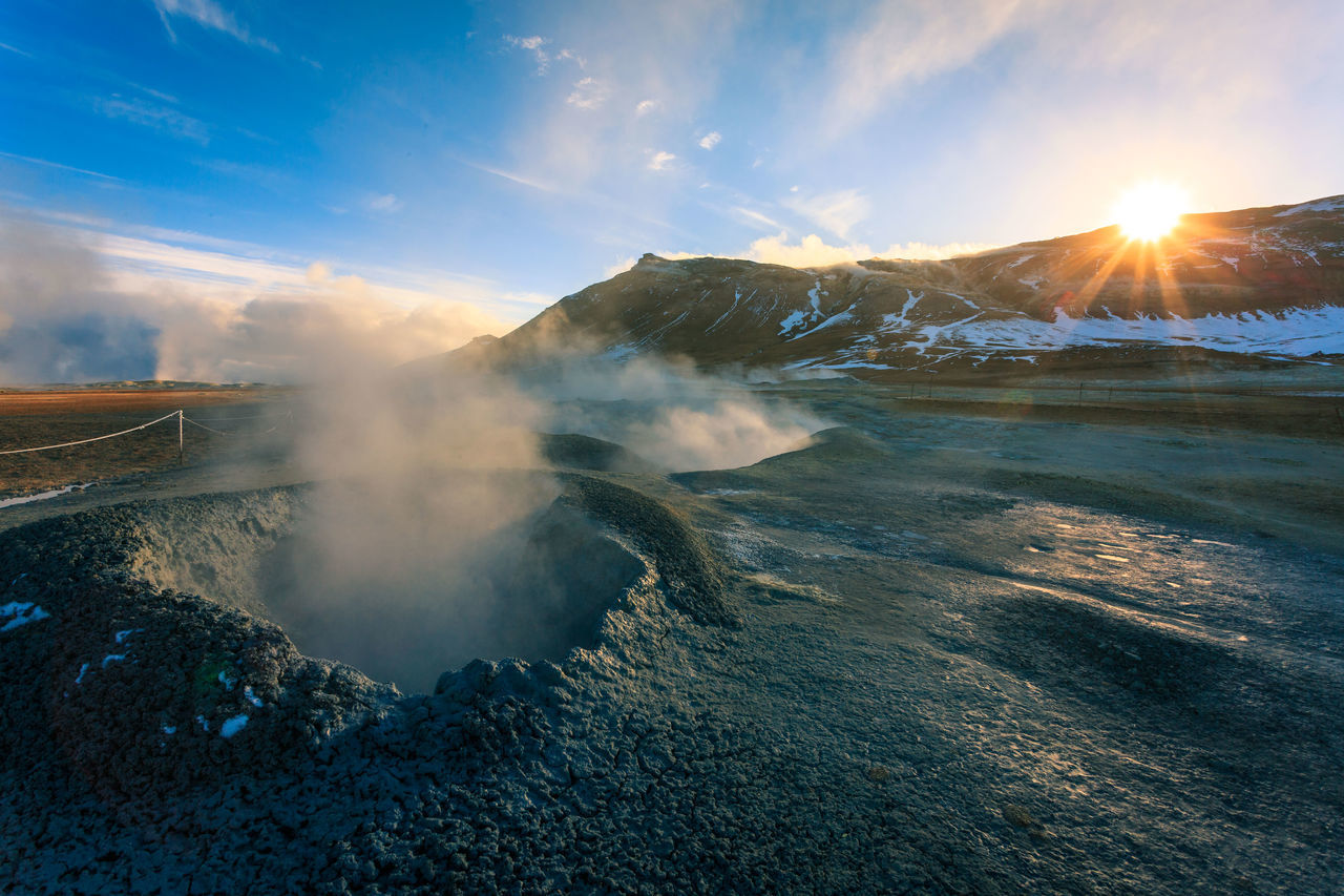 Beauty In Nature Cloud - Sky Day Hot Spring Iceland Lake Landscape Lens Flare Mountain Myvatn Nature No People Outdoors Physical Geography Scenics Sky Steam Sulfur  Sun Sunbeam Sunlight Sunset Tranquil Scene Tranquility Water