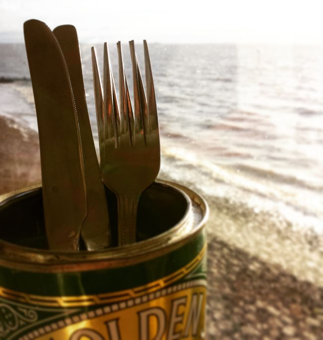 Cutlery Beach Cafe Seafront Southend On Sea Close-up