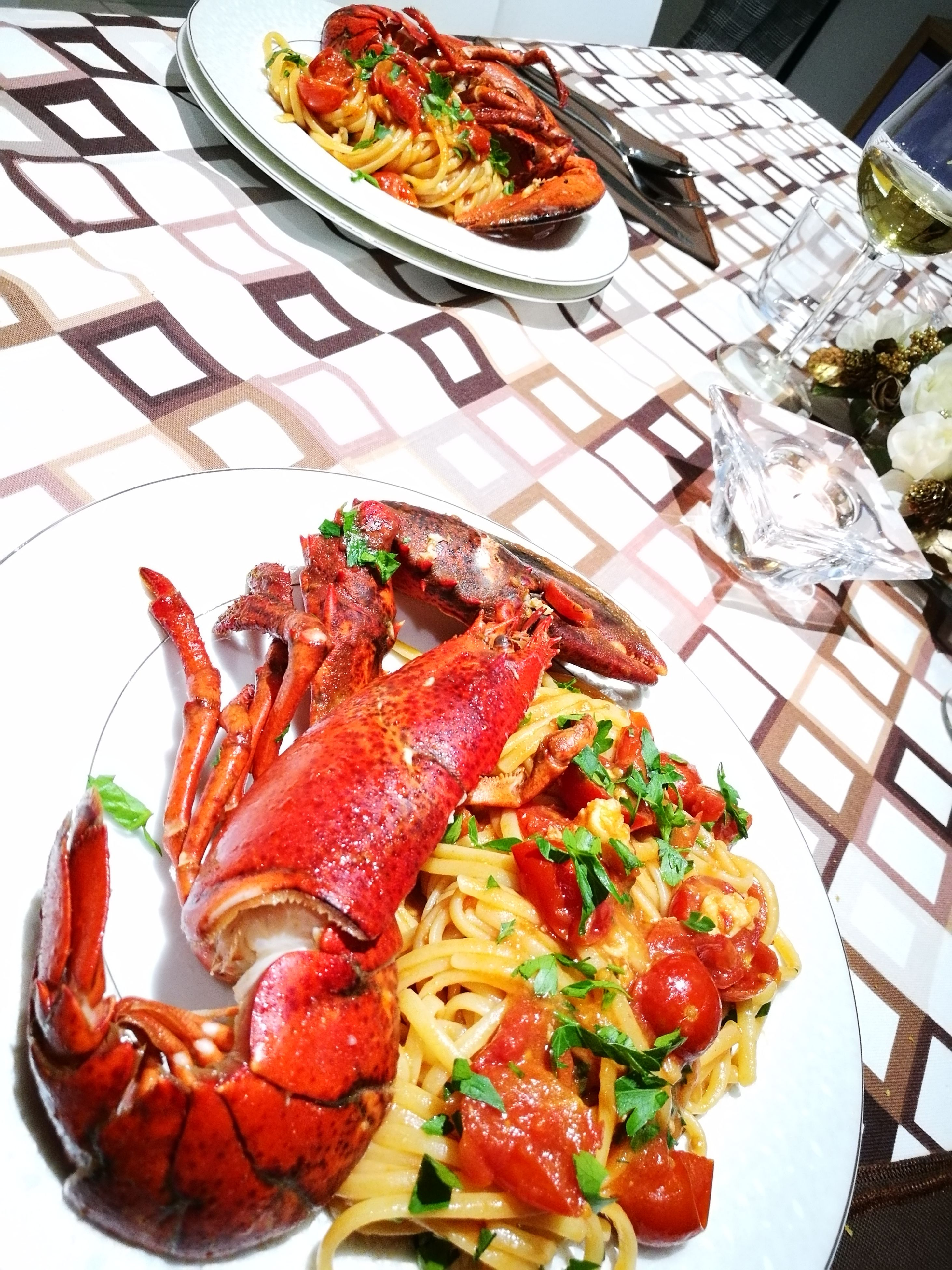food and drink, food, freshness, still life, table, high angle view, healthy eating, ready-to-eat, no people, serving size, indoors, lobster, day