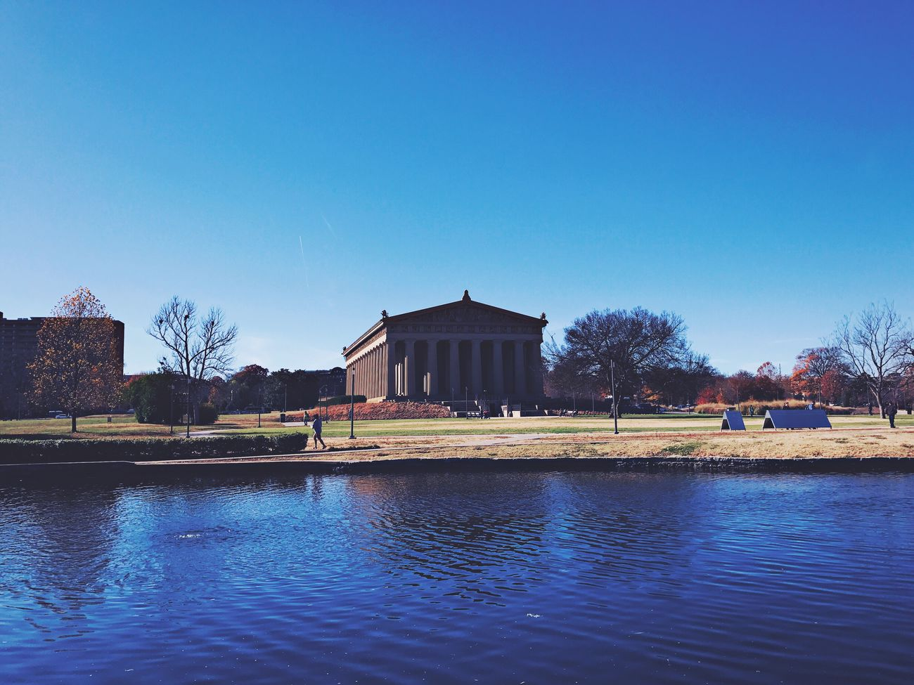 Clear Sky Architecture Building Exterior Built Structure Water Reflection Blue Waterfront No People Nature Tree River Outdoors Day Travel Destinations Sky Pavilion Parthenon Nashville