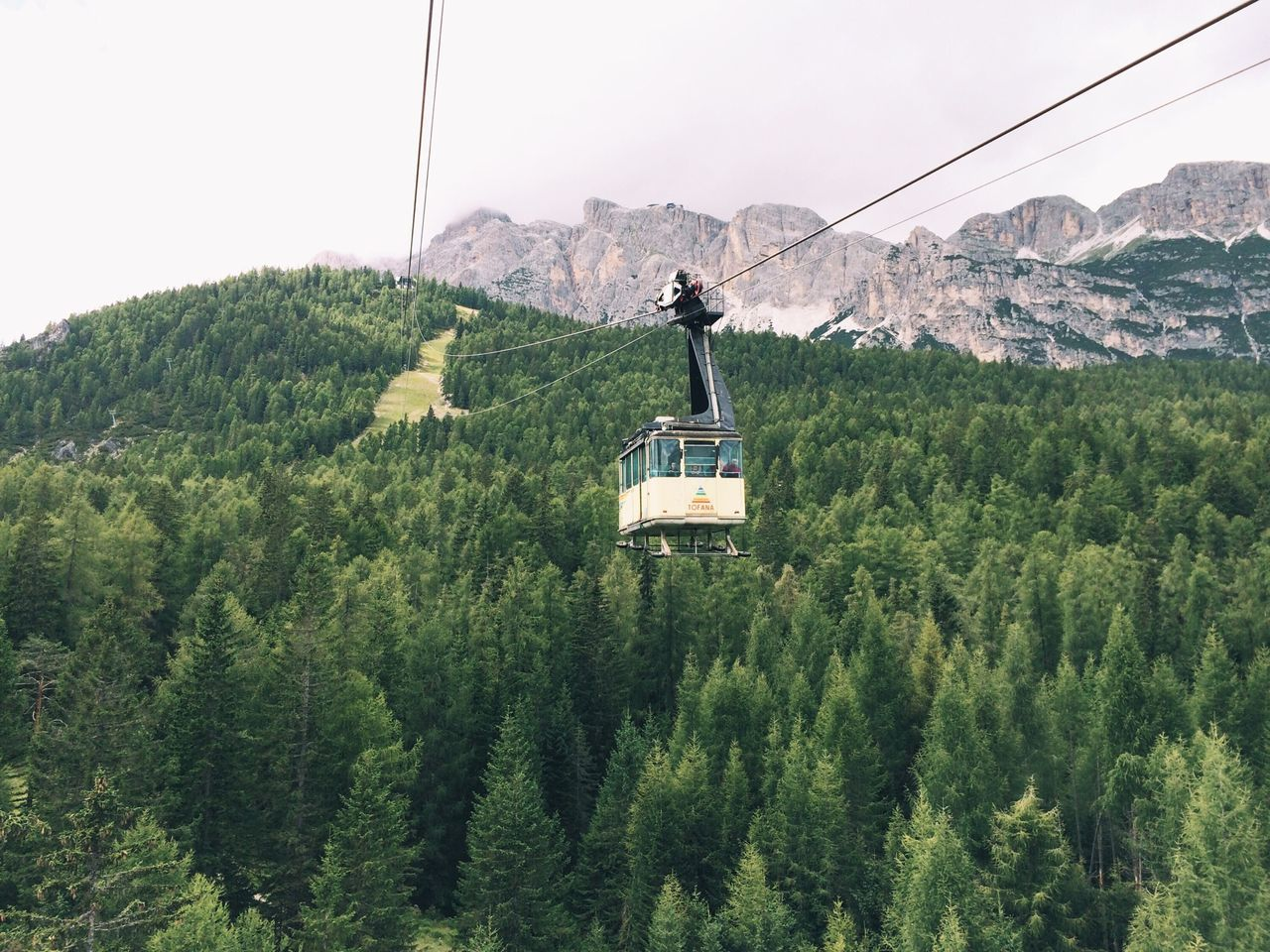 Overhead Cable Car In Mountains
