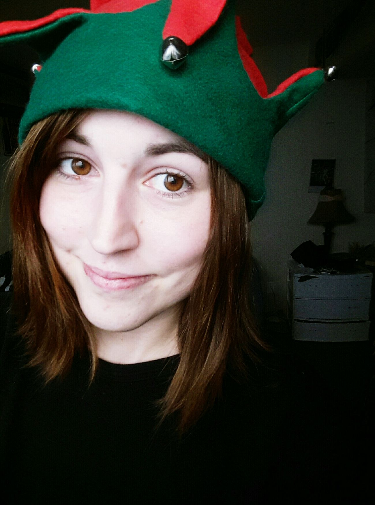 One month until Christmas! 🎅🎄❤️ Portrait Looking At Camera Green Color Headshot Only Women Smiling One Person One Woman Only People Red Color Close-up Indoors  Day Adult Adults Only Elf Hat Elf Christmas Festive Christmas Cheer Christmas Spirit Self Portrait Christmas Selfie