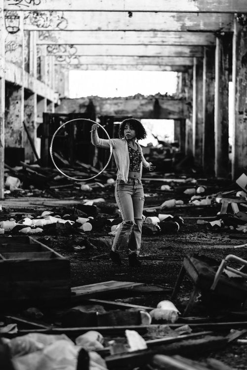 One Person Full Length Real People Adults Only People Young Adult Adult Day Welcome To Black Destruction Can Be Beautiful Abandoned Places Blackandwhite Black And White Black & White Hoola Hoop