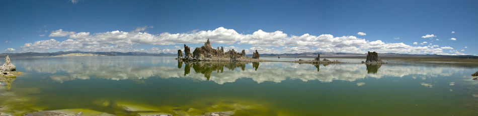 America Beauty Beauty In Nature Blue California Geology Lake Landscape Mono Lake Mono Lake California Nature Outdoors Panoramic Reflection Scenics Sky Tranquil Scene Travel Destinations Tuff USA Water Western