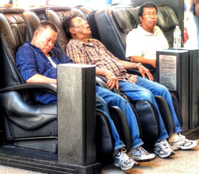 Mall Shopping Mall Massage Chairs Asians Men Sleeping Asleep Relaxing