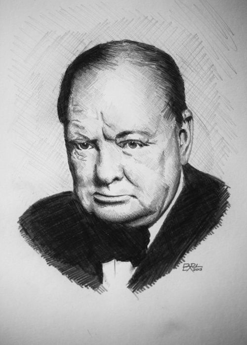 Adult Drawing Headshot Looking At Camera Men One Man Only One Person Pencil Pencil Drawing Portrait Real People Winston Winston Churchill