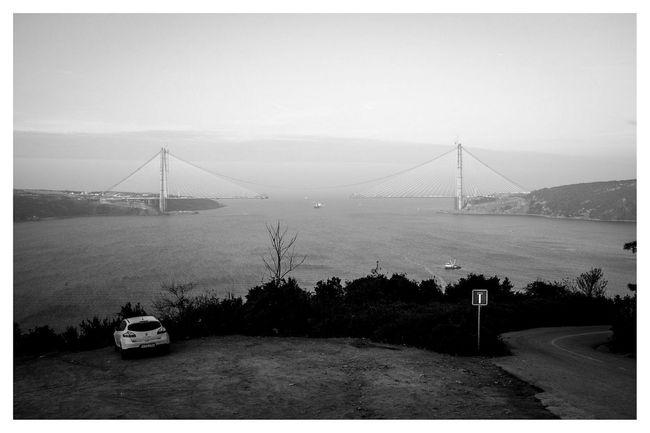 enjoying the view Blackandwhite Black & White Travel Photography Landscape Istanbul Third Bridge at Yoros Kalesi , Anadolu Kavağı , Istanbul in Turkey