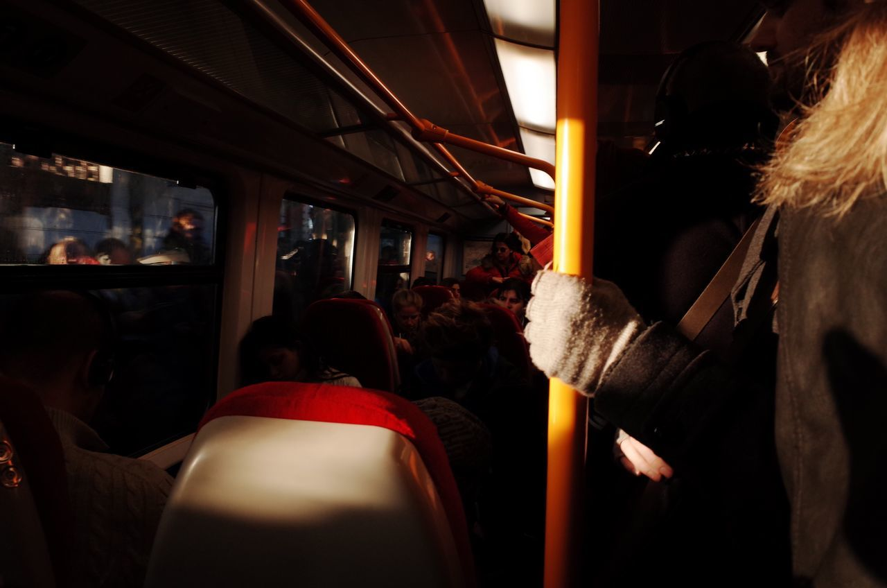 Train Commuting London Southwest  Group Of People Indoor Londoners Morning Light And Shadow Serenity Tranquil Scene Silence Vehicle Interior Public Transportation Passenger Mode Of Transport Real People Train Interior Winter