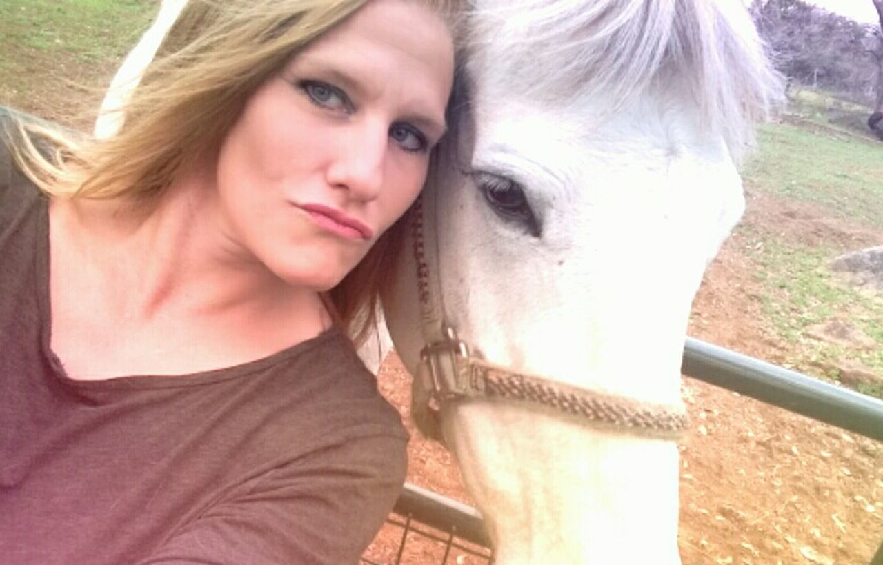 Domestic Animals Headshot Horse Beautiful Woman Mammal Outdoors Horsin' Around White Stallion Texas Photographer Texaslife Follow_me