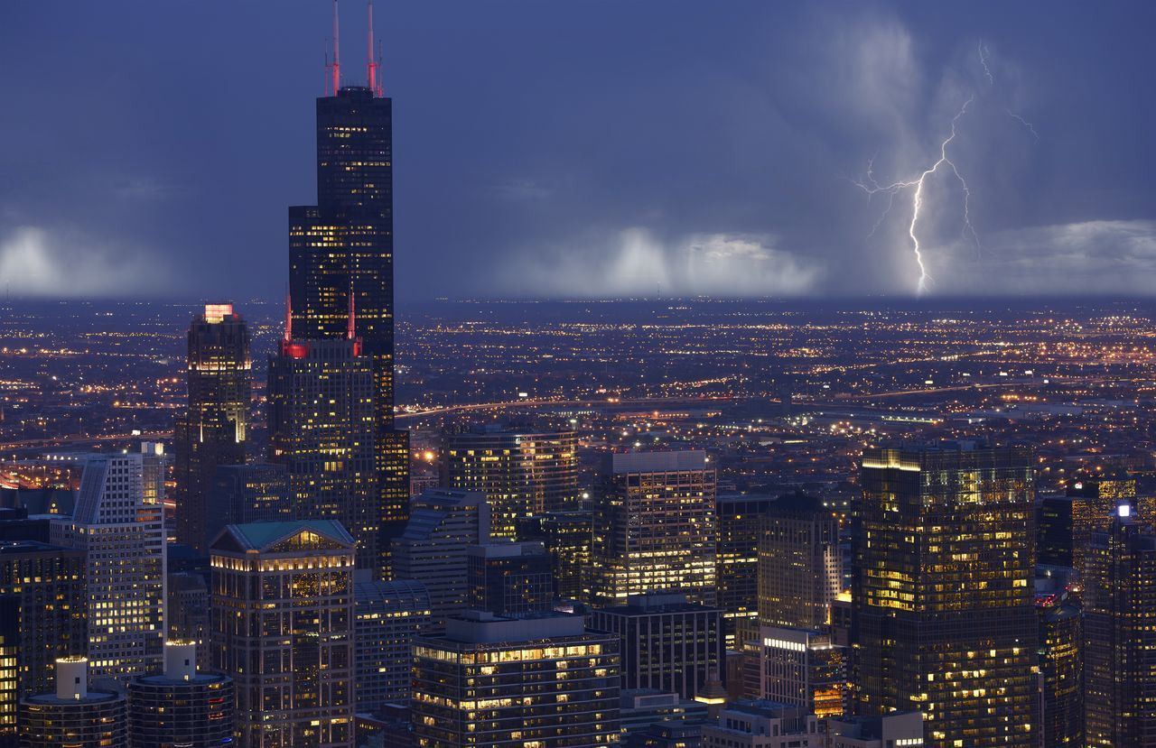 Chicago, Illinois, USA. Electric Storm. Stormy Summer Afternoon. Storm Architecture Building Exterior Built Structure City City Life Cityscape Downtown District Electric Storm Illuminated Modern Night No People Outdoors Sky Skyscraper Thunderstorm Tower Travel Destinations Urban Skyline