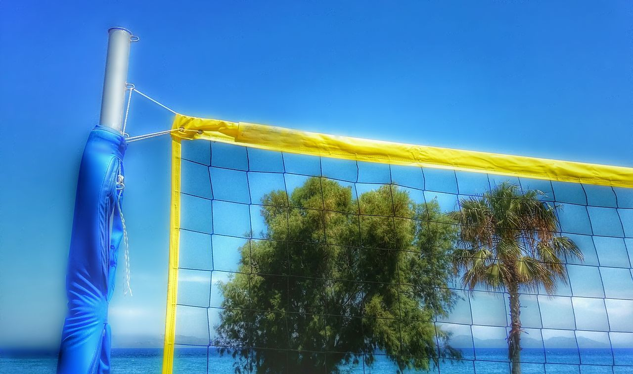 blue, clear sky, low angle view, tree, sky, outdoors, no people, day, nature, beach volleyball