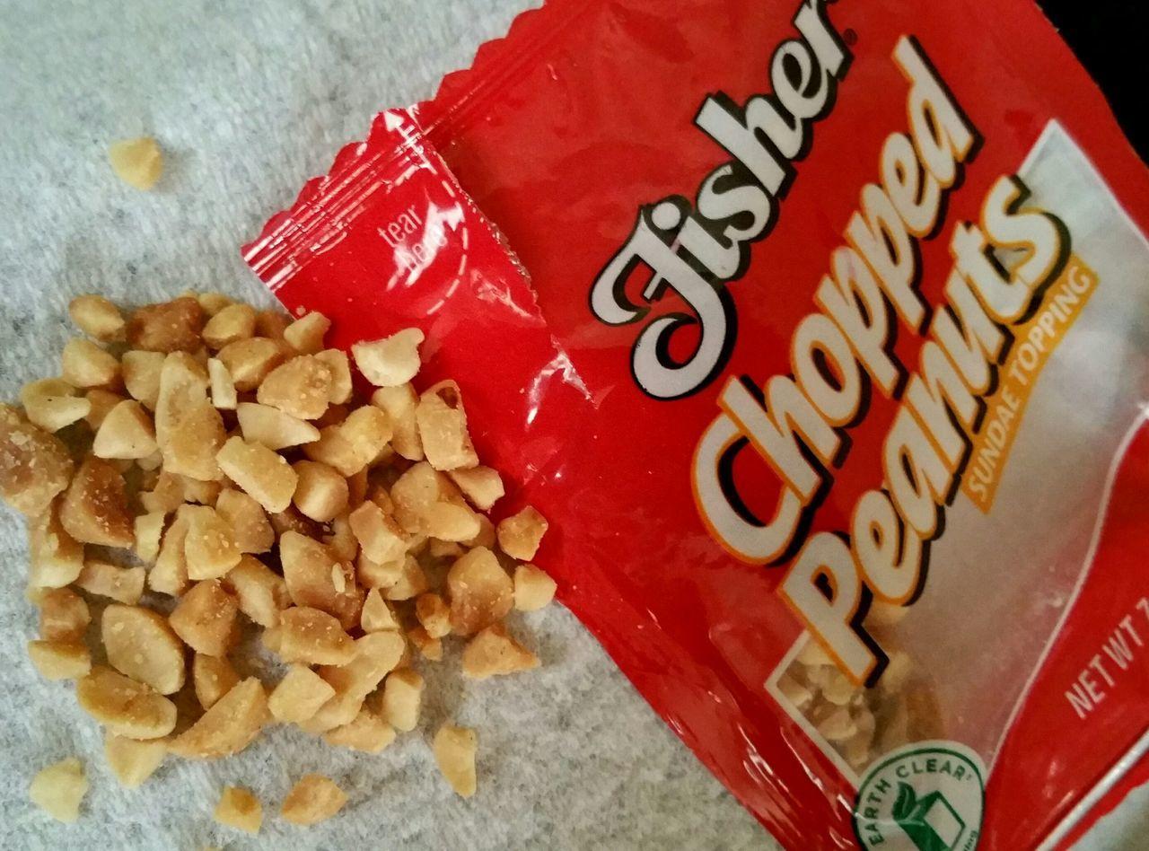 Fisher Nuts On Sundae On Sunday! Ha! Favorite Treat Peanuts Nuts Red Package Yummy :) Icecream🍦