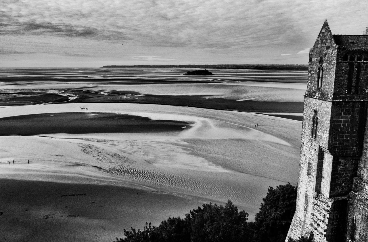 Mont St. Michel Beach Beauty In Nature Black And White Calm Cloud Cloud - Sky Cloudy Coastline Day Horizon Over Water Idyllic Nature Outdoors Sand Scenics Sea Shore Sky Tourism Tranquil Scene Tranquility Travel Destinations Vacations Water Normandie France