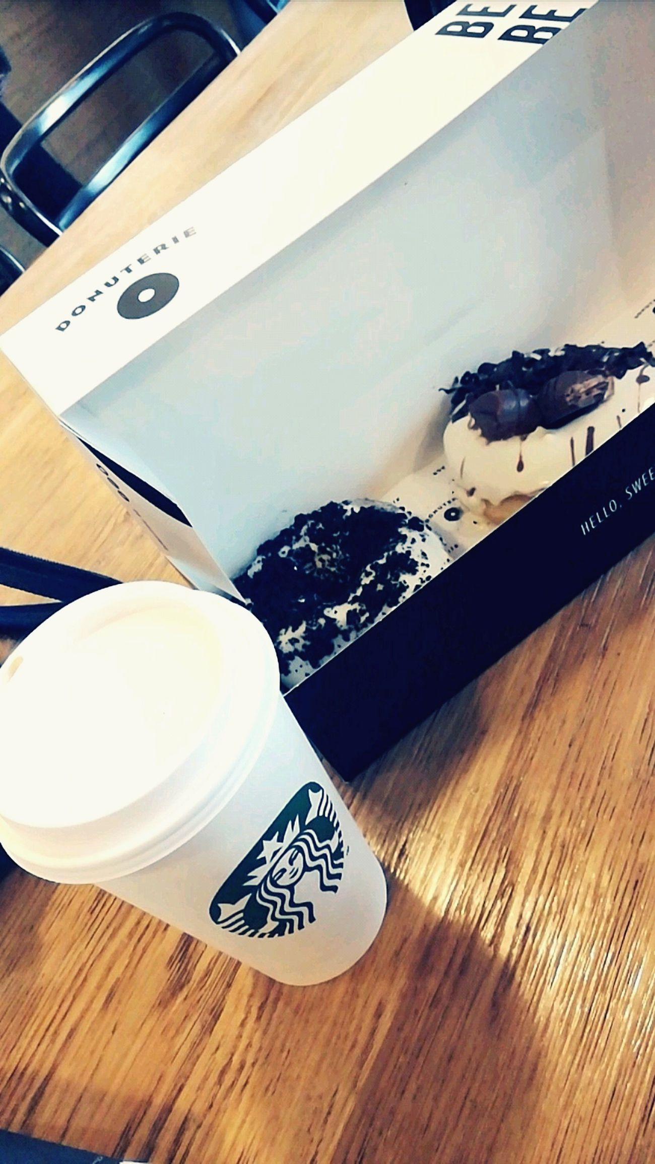 Starbucks Starbuckslover Caramel Machiatto Drink Donuts Ready-to-eat Chocolate♡ Table No People Peaceful Moment