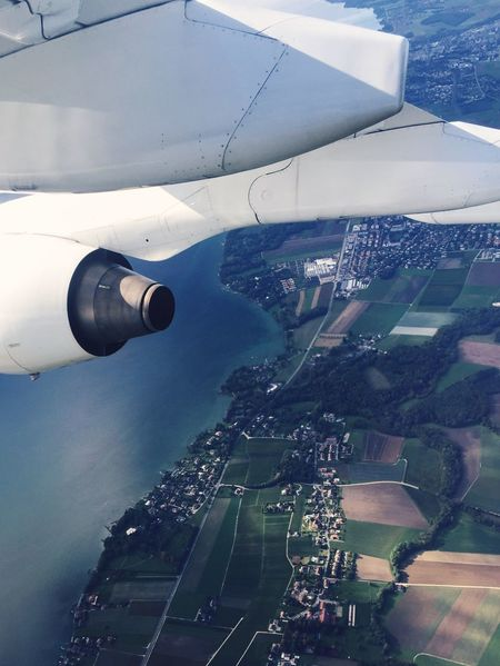 Wing seat view Airplane Aircraft Aeroplane Wing View From Above View From The Window... Flying Travel Europe Birds Eye View Greenery Landscape