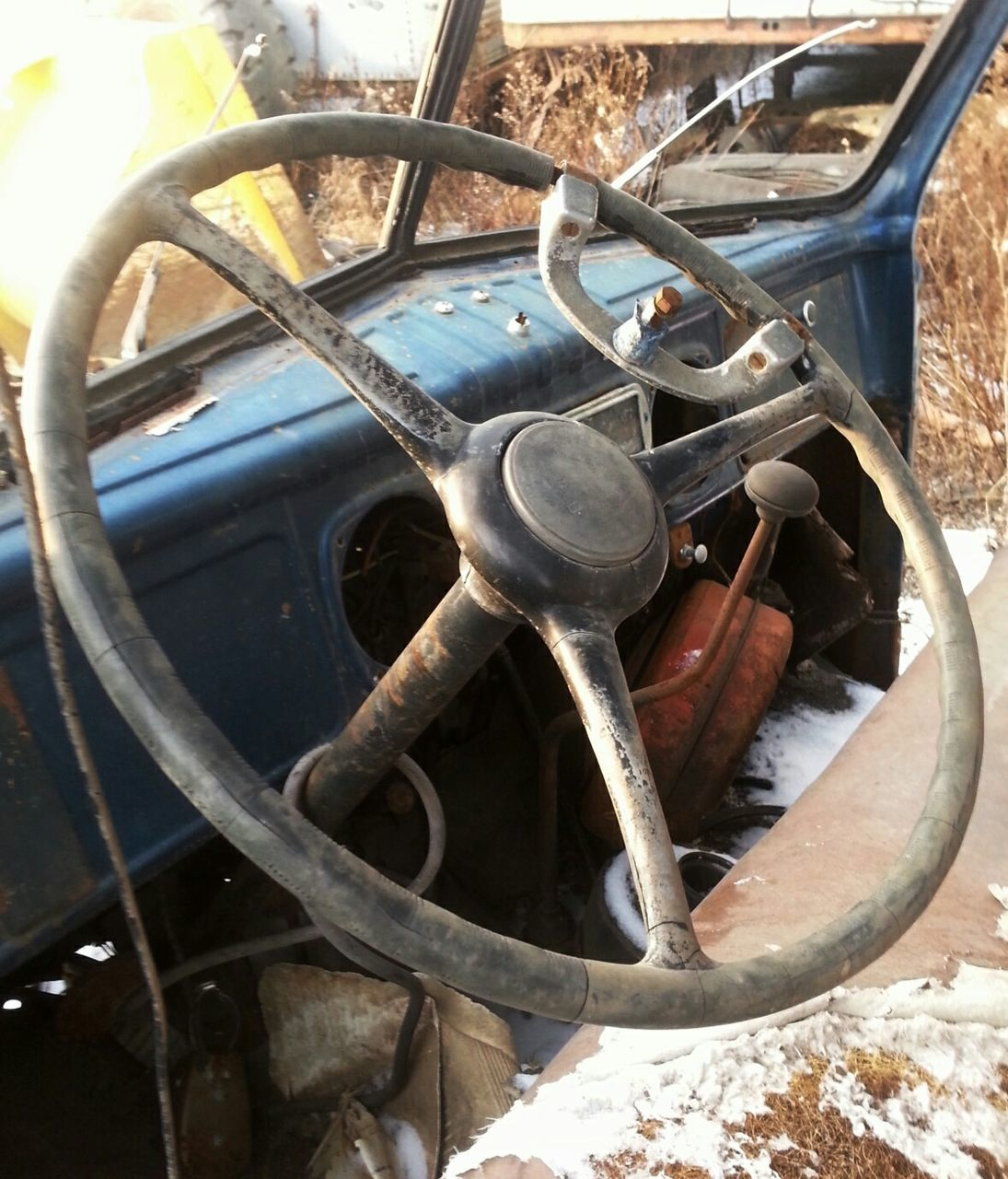 Close-Up Of Abandoned Steering Wheel