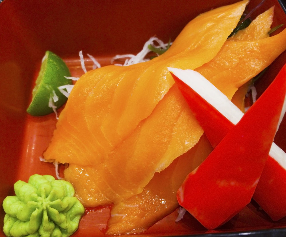 Japanese Food Crab Stick Japanese Sauce Meal Restuarant Seafood Spicy Wasabi Close-up Colorful Delicious Food Food Set Freshness Healthy Eating Healthy Food Lemon Protein Radish Ready-to-eat Red Box Sasimi Sliced Salmon Traditional Food Yummy