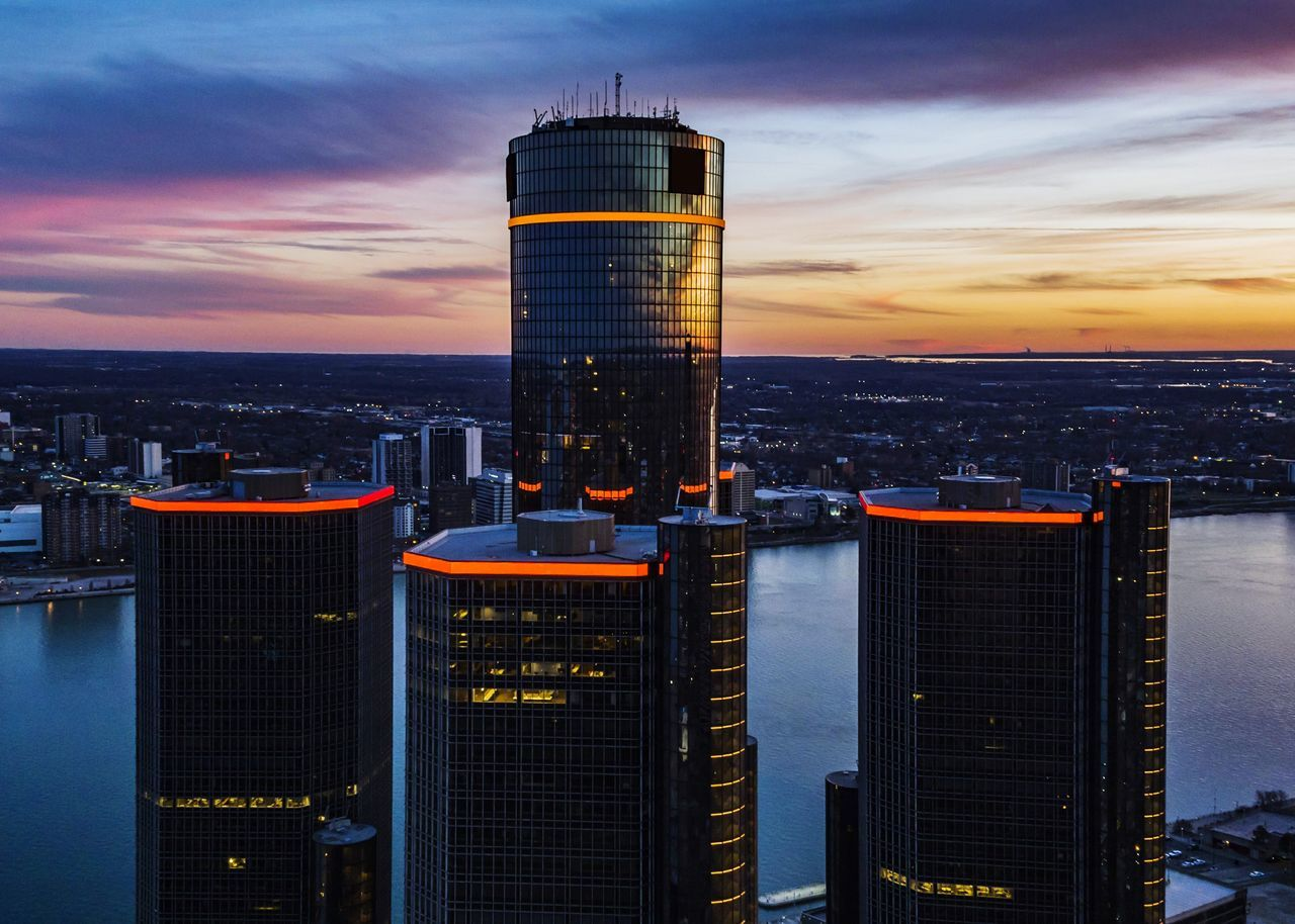 City Business Finance And Industry Skyscraper Sunset Growth Social Issues Urban Skyline Built Structure No People Night Illuminated Outdoors Architecture Cityscape Sky Detroit Drone  Aerial