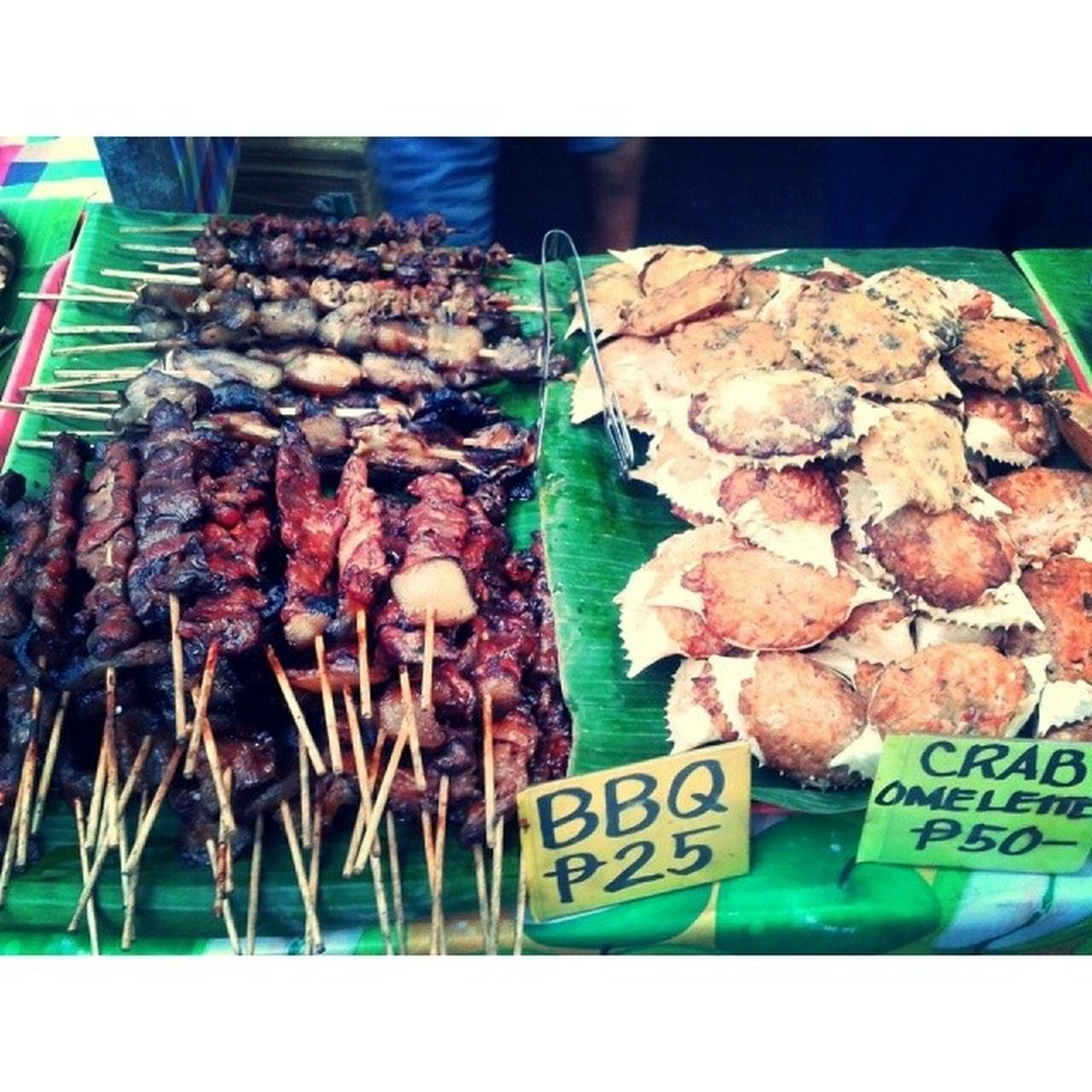 Pork barbecue and crab omelet on the half-shell (my favourite!) Banchetto Pork Barbecue Crab omelet omelette pinoyfood streetfood pagkaingpinoy itsmorefuninthephilippines quezoncity sundaydinner sundays