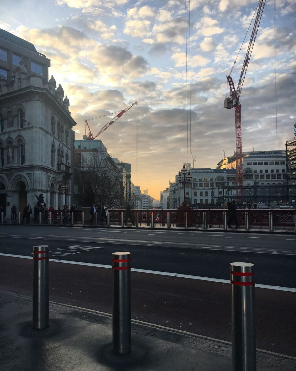 London Holborn Viaduct Cranes Lighting Sunlight Sunset